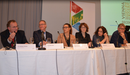 Left to right: Günther Kräuter, Klaus Starl (ETC Graz), Gözde Taskaya (Network Muslim Civil Society), Izabela Kisić (Helsinki Committee for Human Rights, Serbia), Claudia Schäfer (ZARA), Matthias Hui (humanrights.ch)